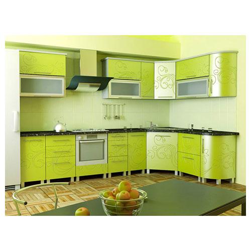 Угловая кухня с фотопечатью на фасадах