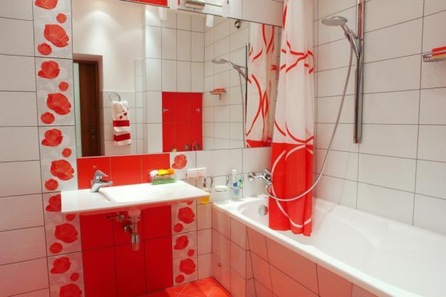 Ванной в красных тонах ванная под
