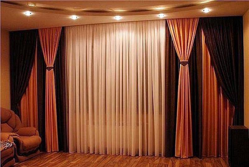 Как сшить комбинированные шторы в гостиную 47