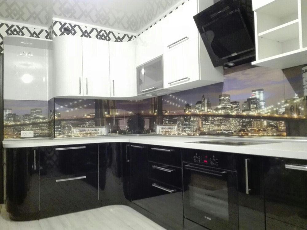 Кухня черно-белая угловая купить кухню по выгодным ценам